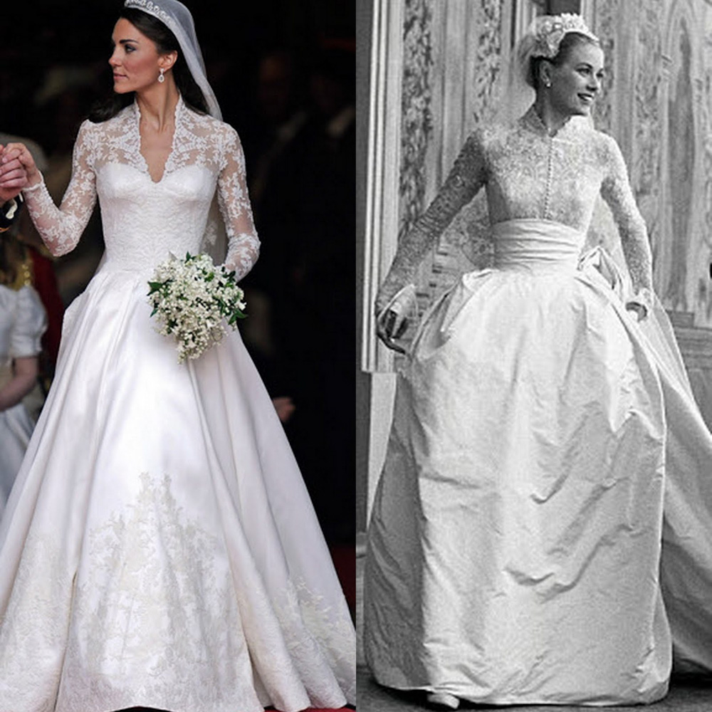 Kate Middletons Wedding Dresses.Grace Kelly Vs Kate Middleton S Wedding Dress Rachael